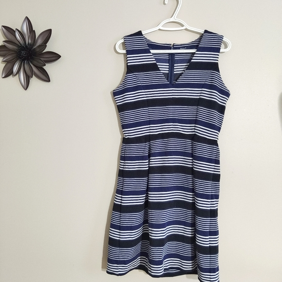 Madewell Striped Fit and Flare Dress Medium